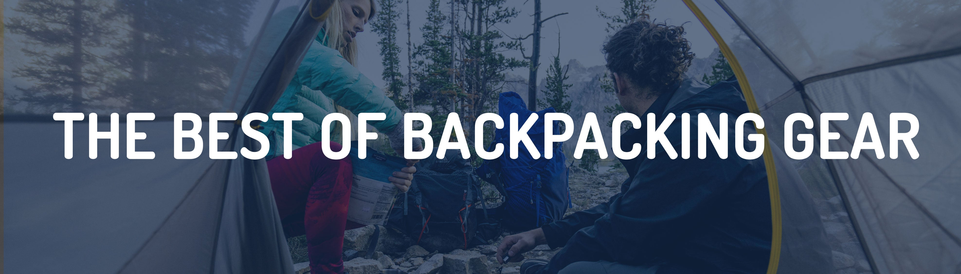 gifts for backpackers banner, text: best of backpacking gear