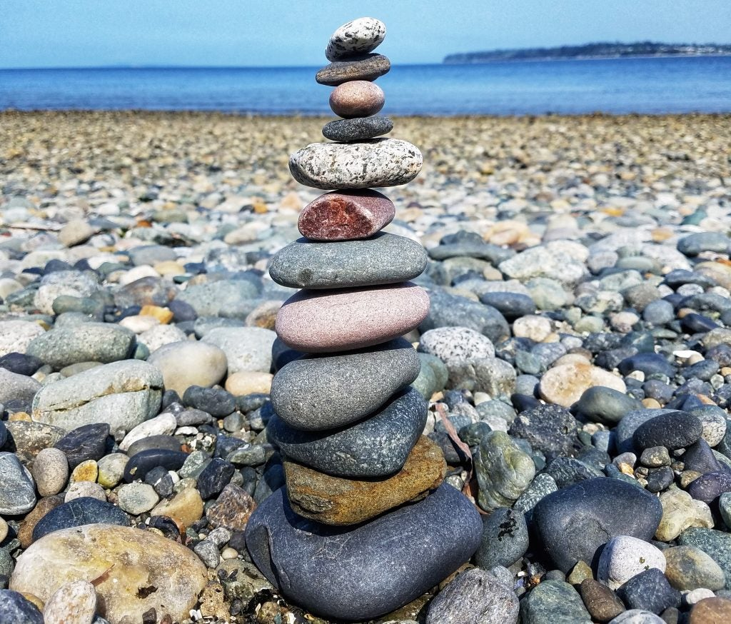 Cairn on the beach of the San Juan Islands