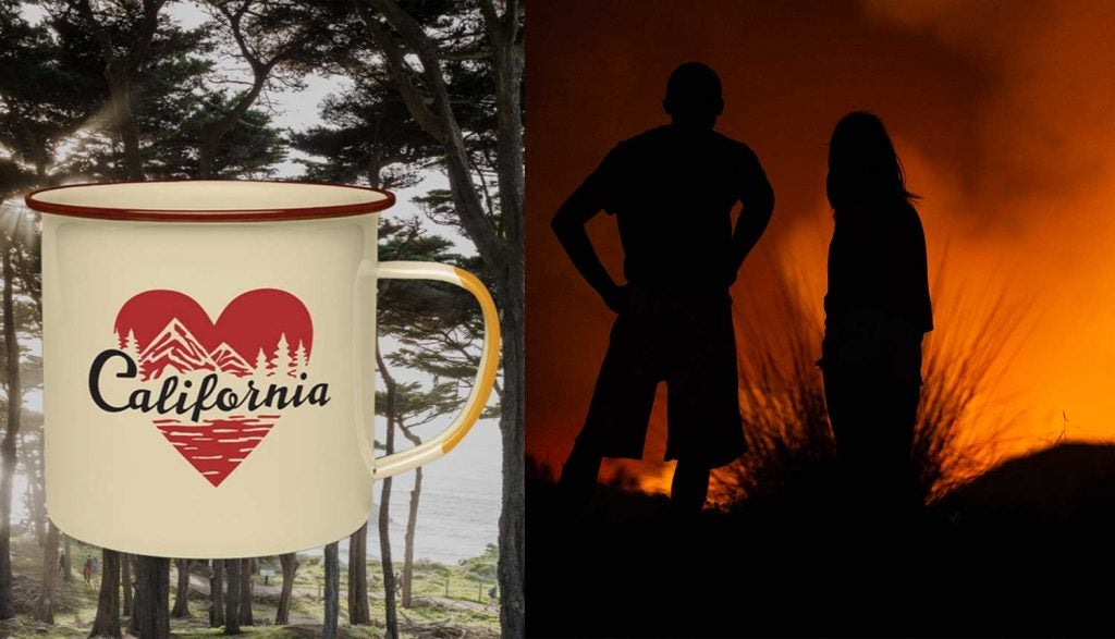 image of united by blue's california mug beside forest fire image