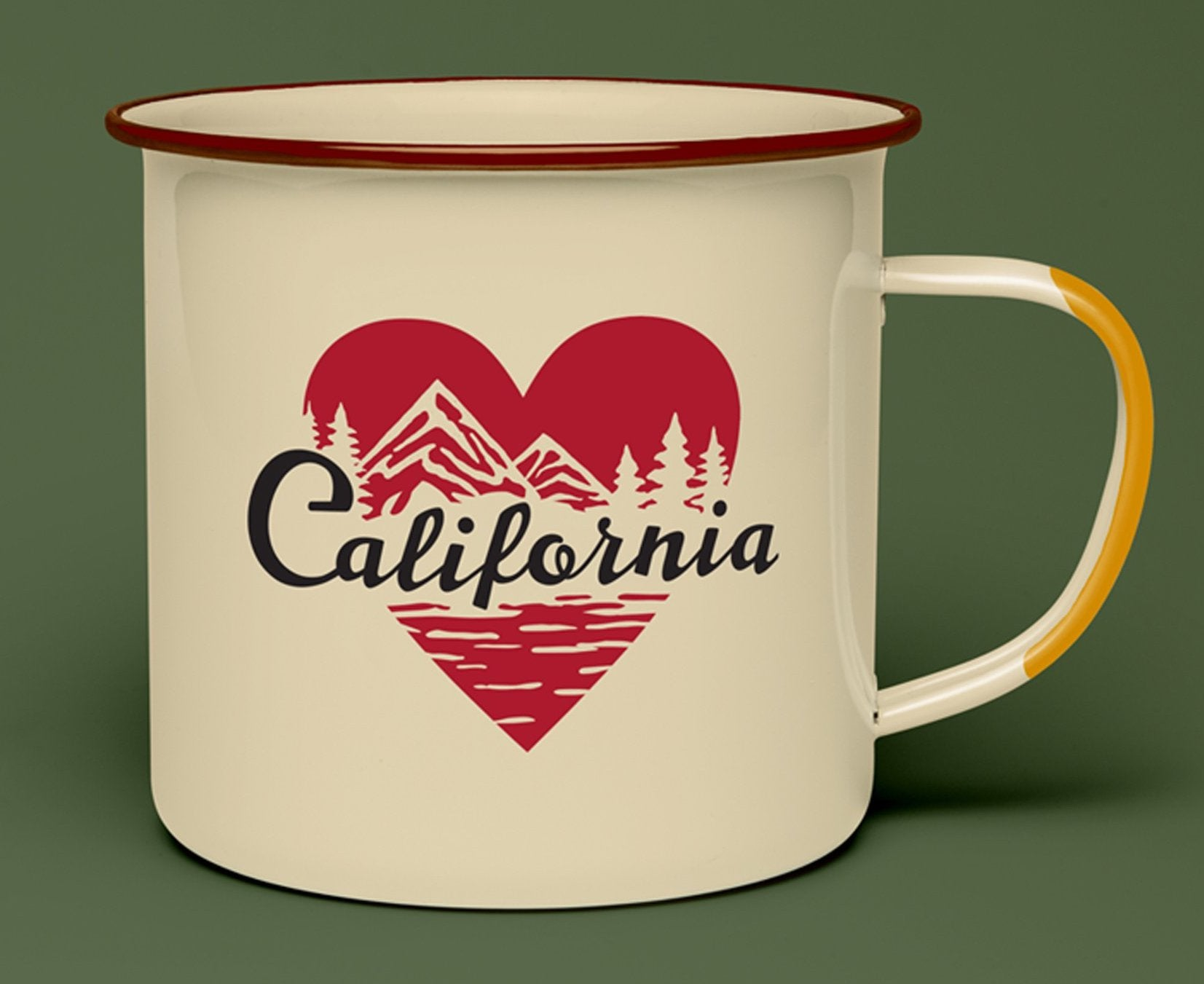 United by Blue's California mug is a tan, steel mug with red heart