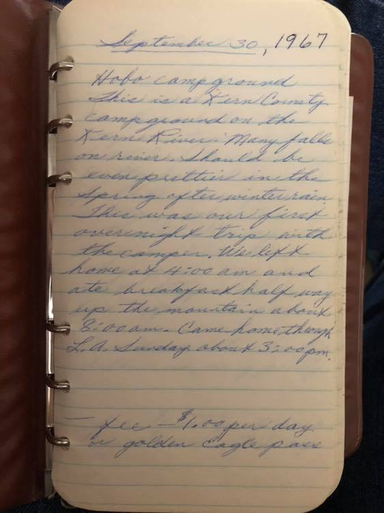 camping journal entry from september 30, 1967