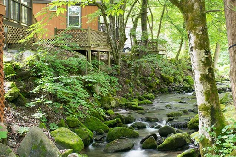 a creek flows through adventure bound campground in gatlinburg