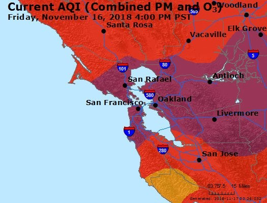 A map of the Air Quality Index in the Bay Area as of Friday, November 16, 2018, covering many San Francisco parks