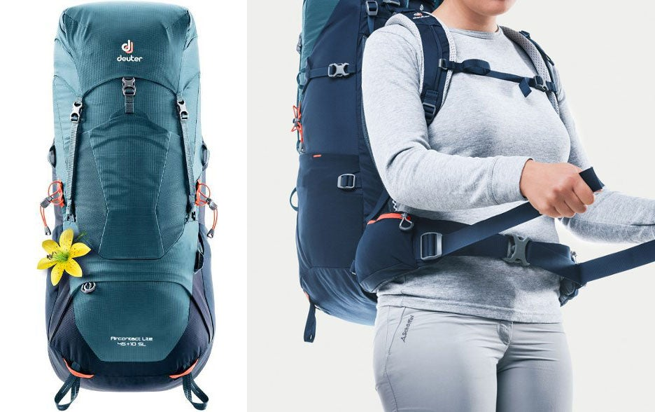 blue deuter backpack, woman demonstrating hip straps