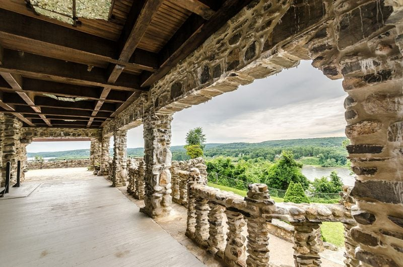 view from upper balcony of the castle at gillette castle state park on a cloudy day