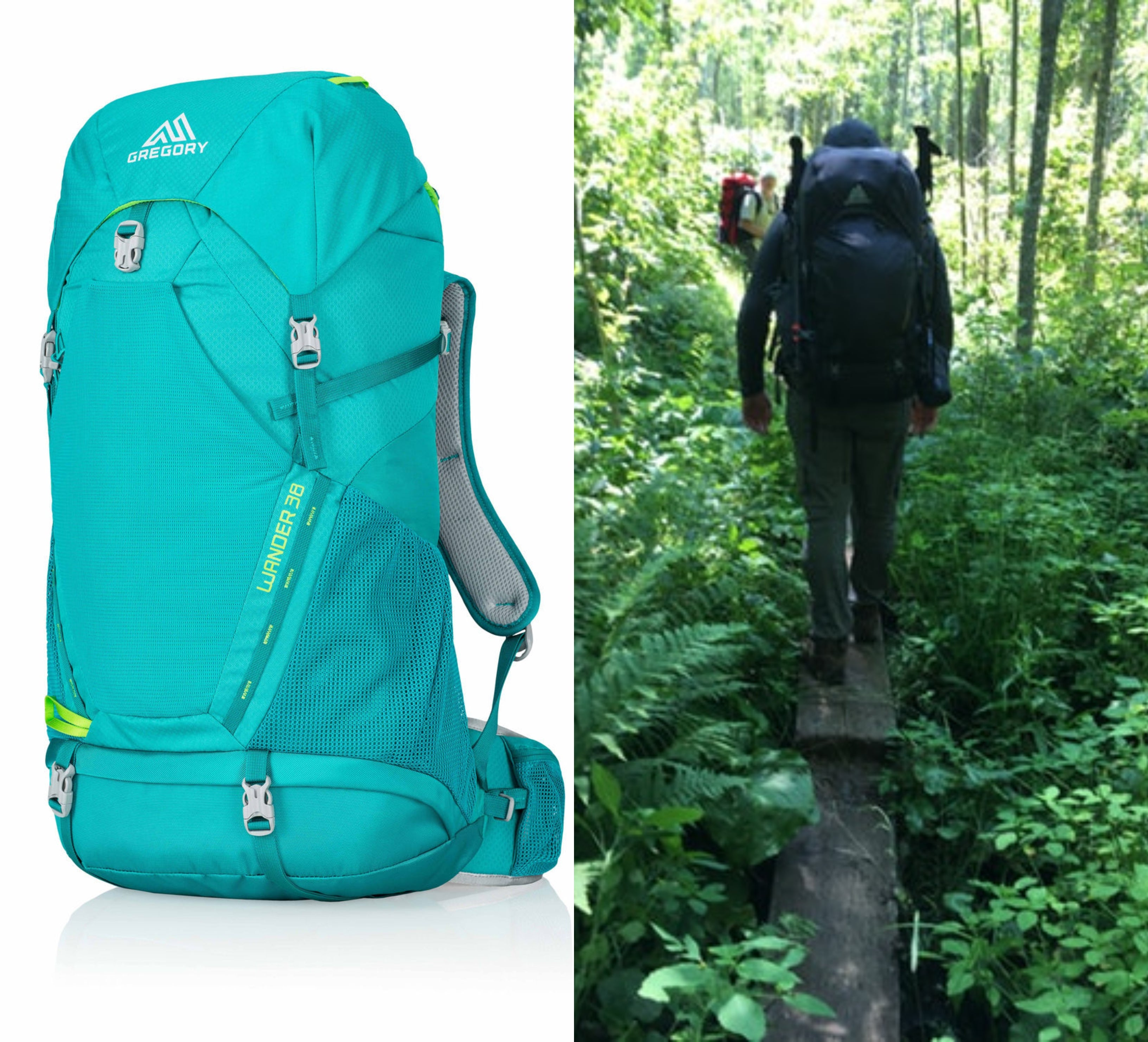 Split image with gregory backpacking pack and women hiking with itl