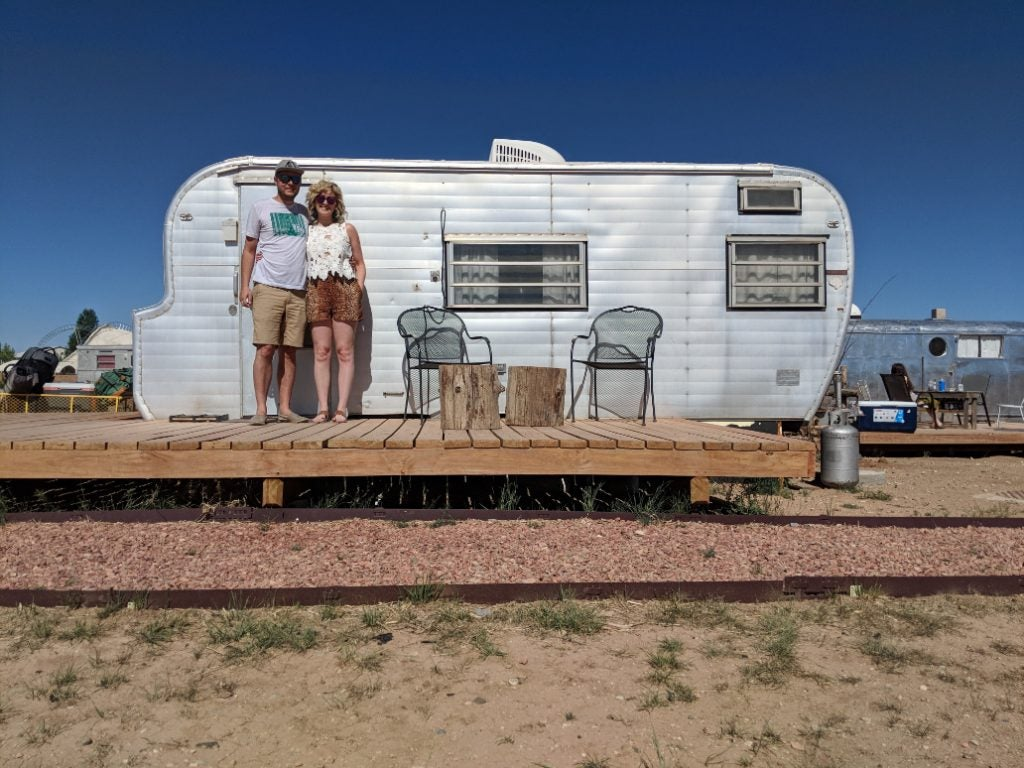 A vintage trailer at Hotel Luna