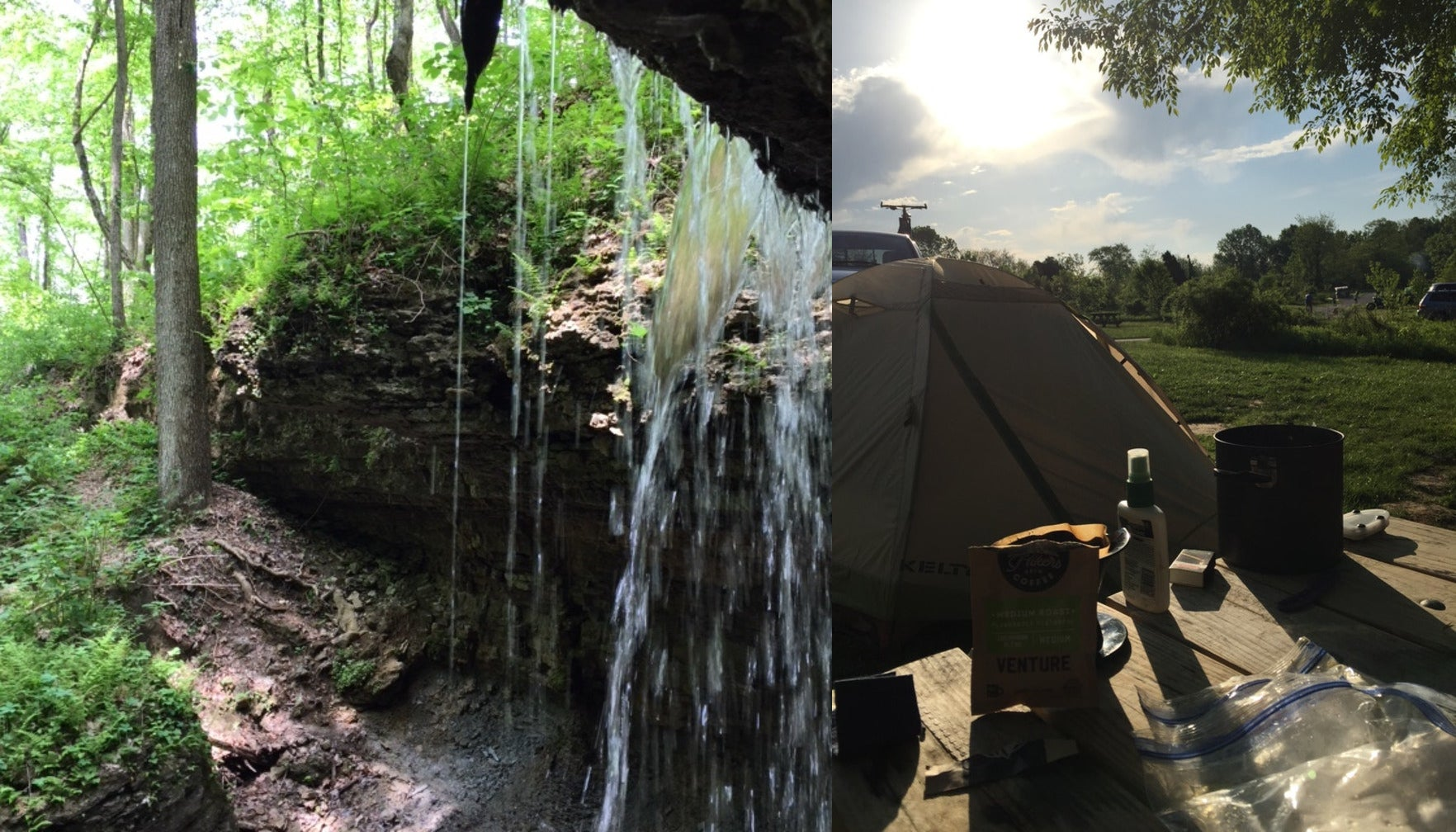 image of a waterfall beside image of local campsite at sunset at clifty falls state park