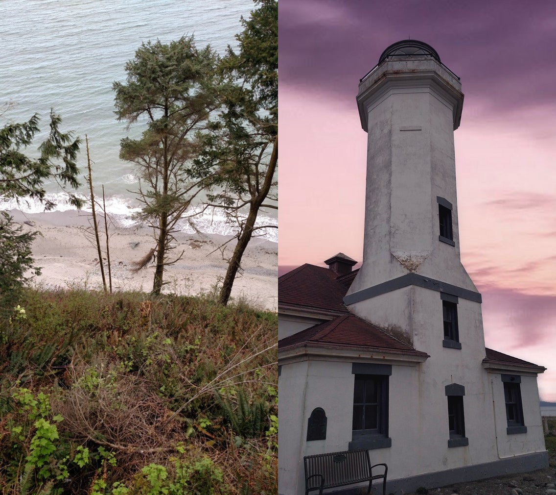 split photo of washington beach beside abandoned lighthouse at dusk