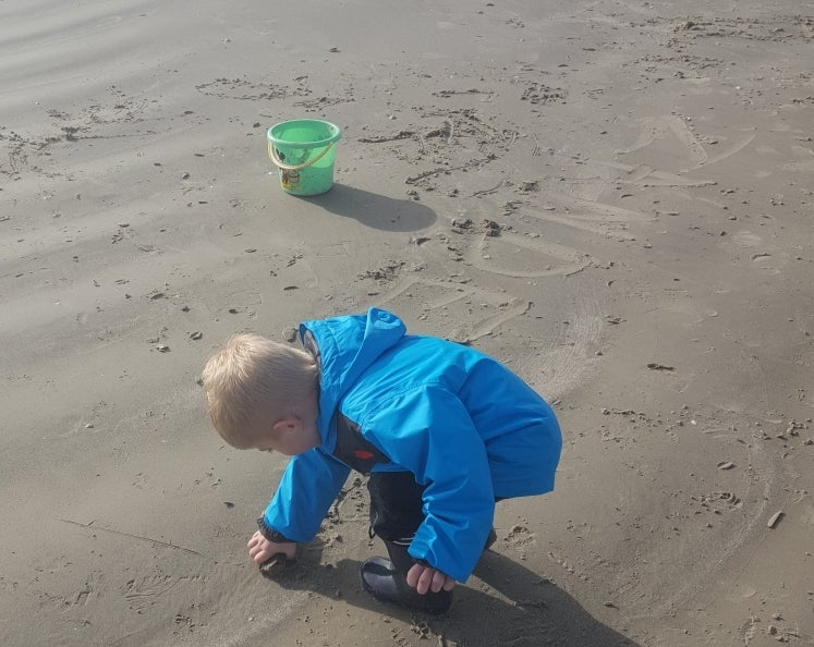 young boy in a blue jacket playing in the wet sand