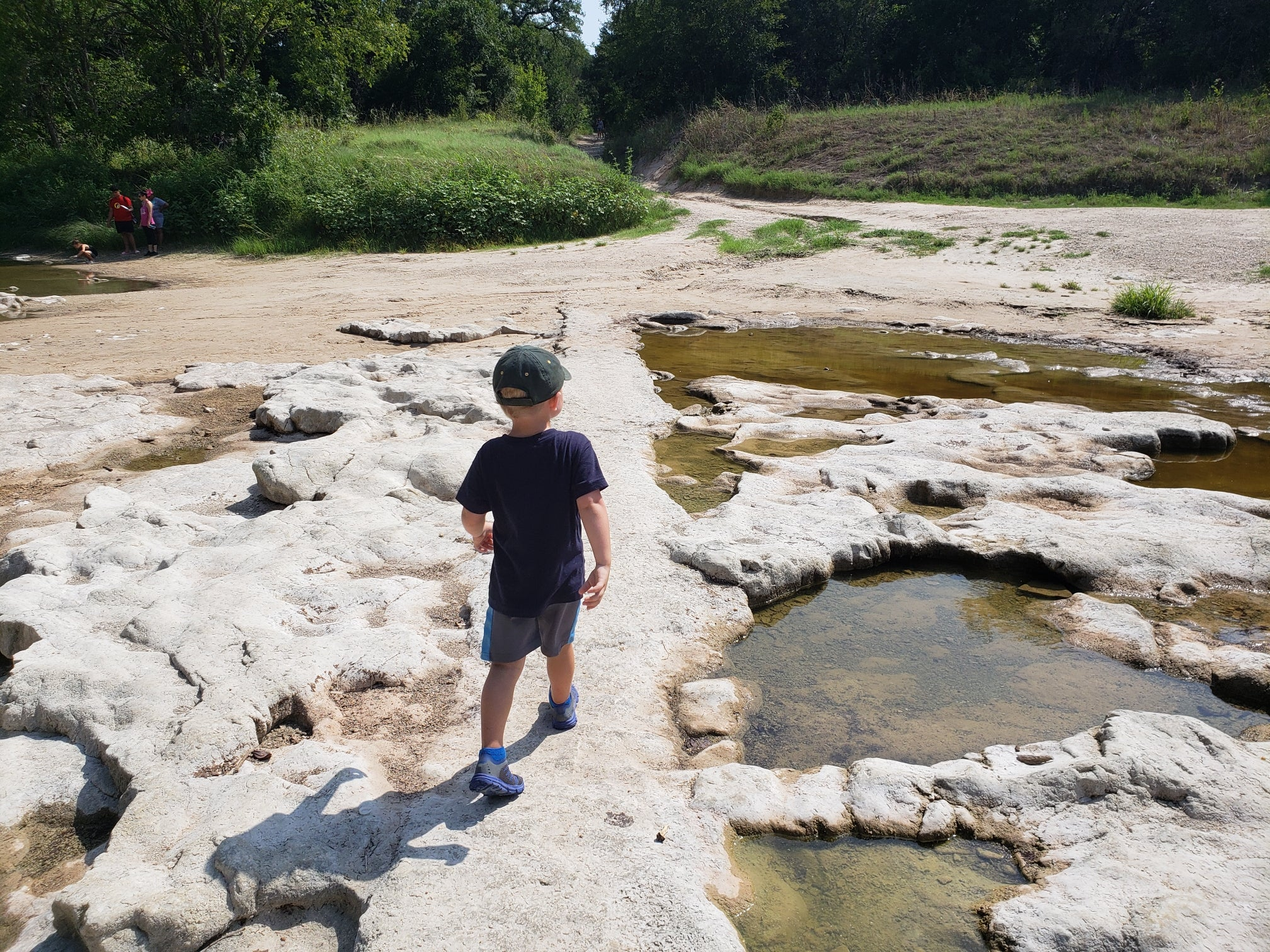 Child walking in Dinosaur park among fossils