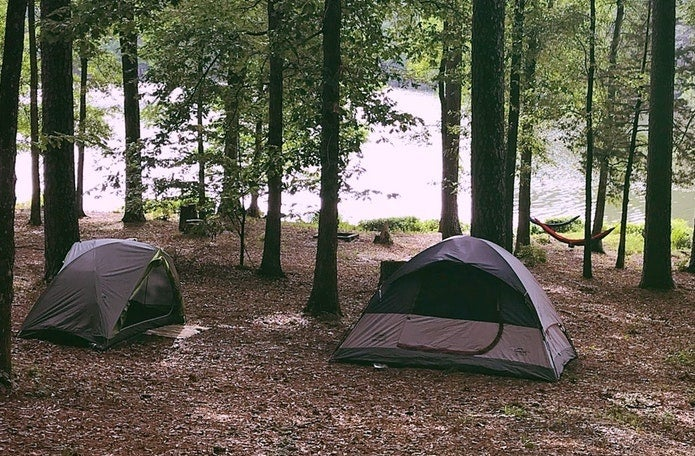 Two tents in the forest along a lake in Mississippi