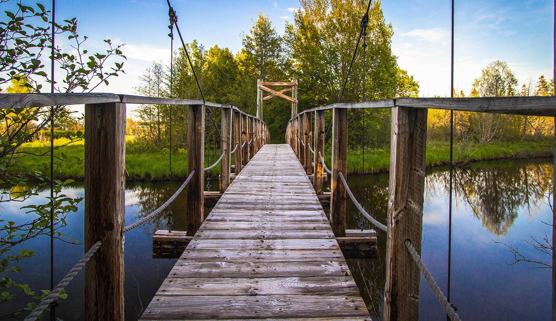 Wooden foot bridge crossing water.