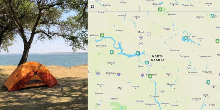 camping in north dakota state parks, mapped