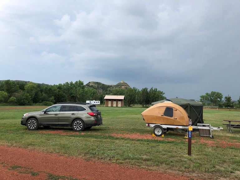 camper at sully creek campsites on a cloudy day in north dakota