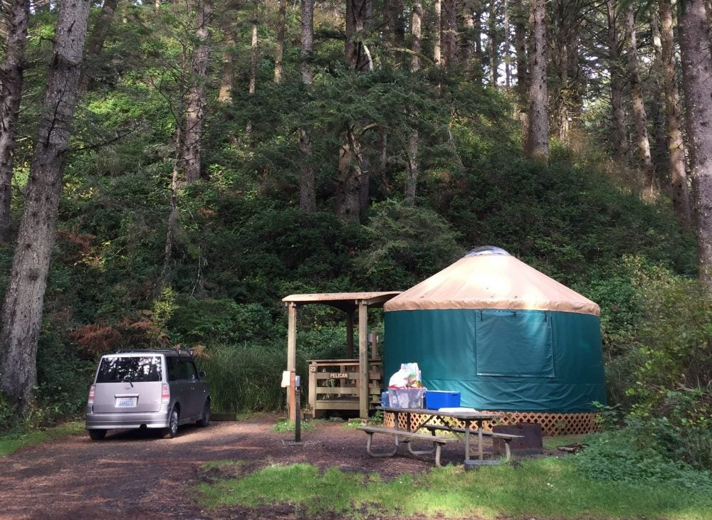 yurt campsite in forest at beverly beach state park
