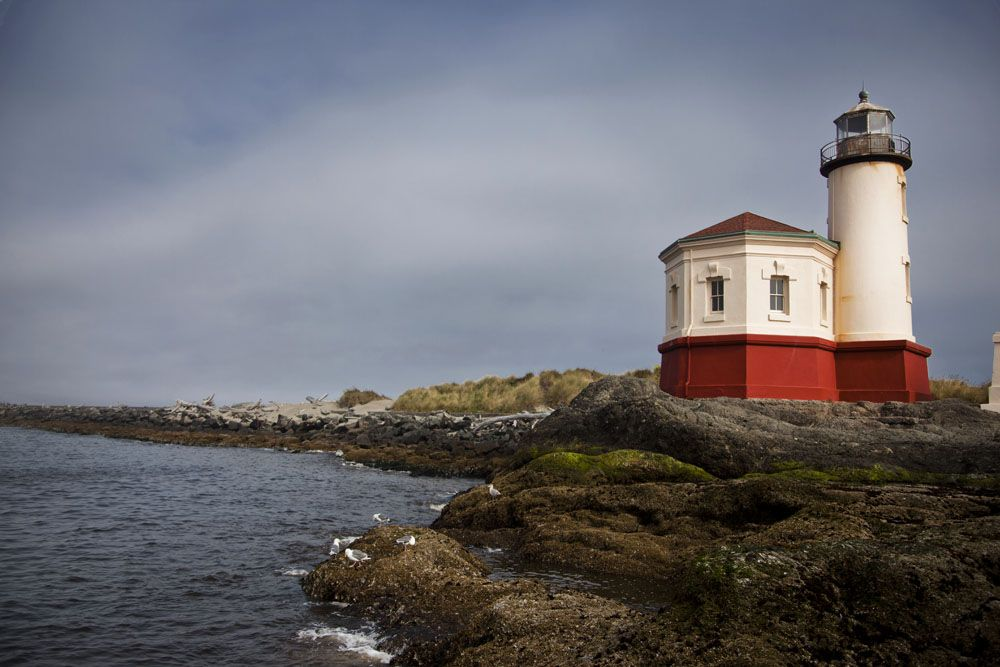 The historic Coquille River Lighthouse at Bullards Beach