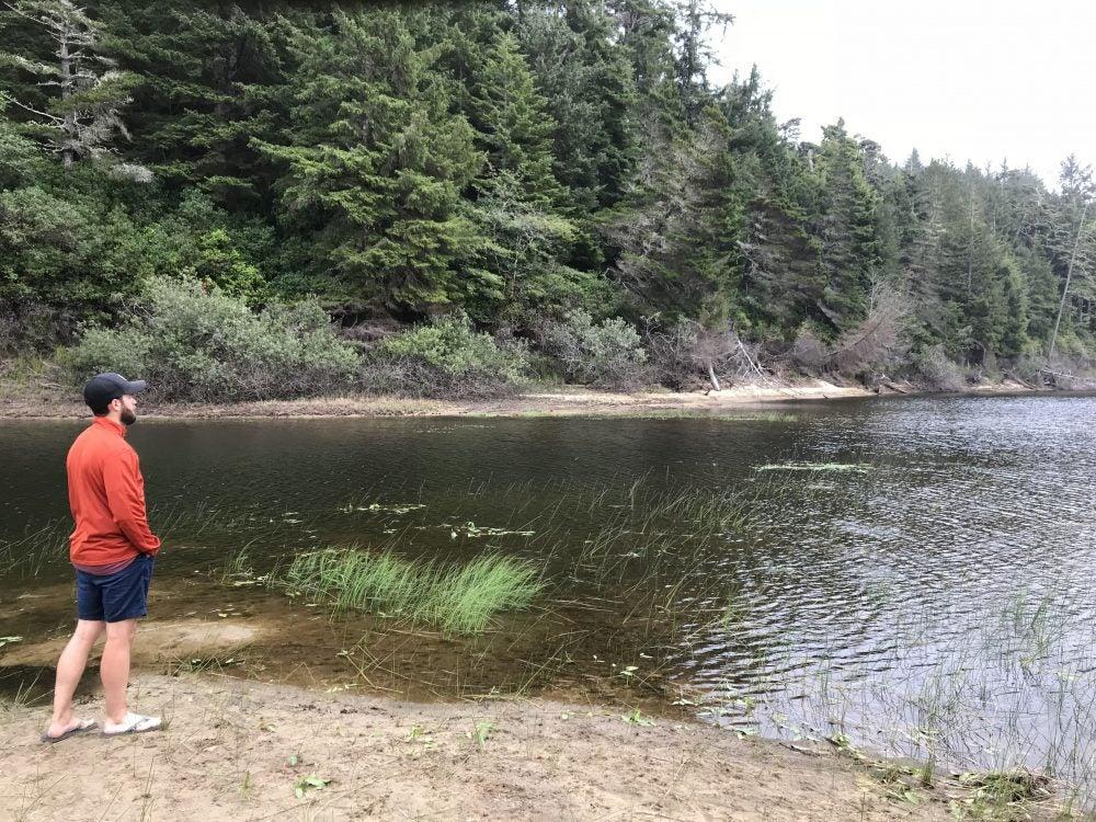 hiker overlooking carter lake