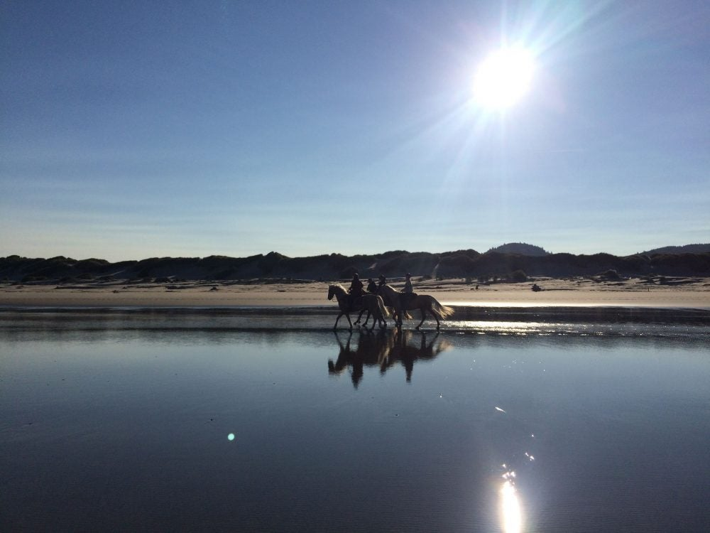 Horseback riding on the beach at Nehalem Bay
