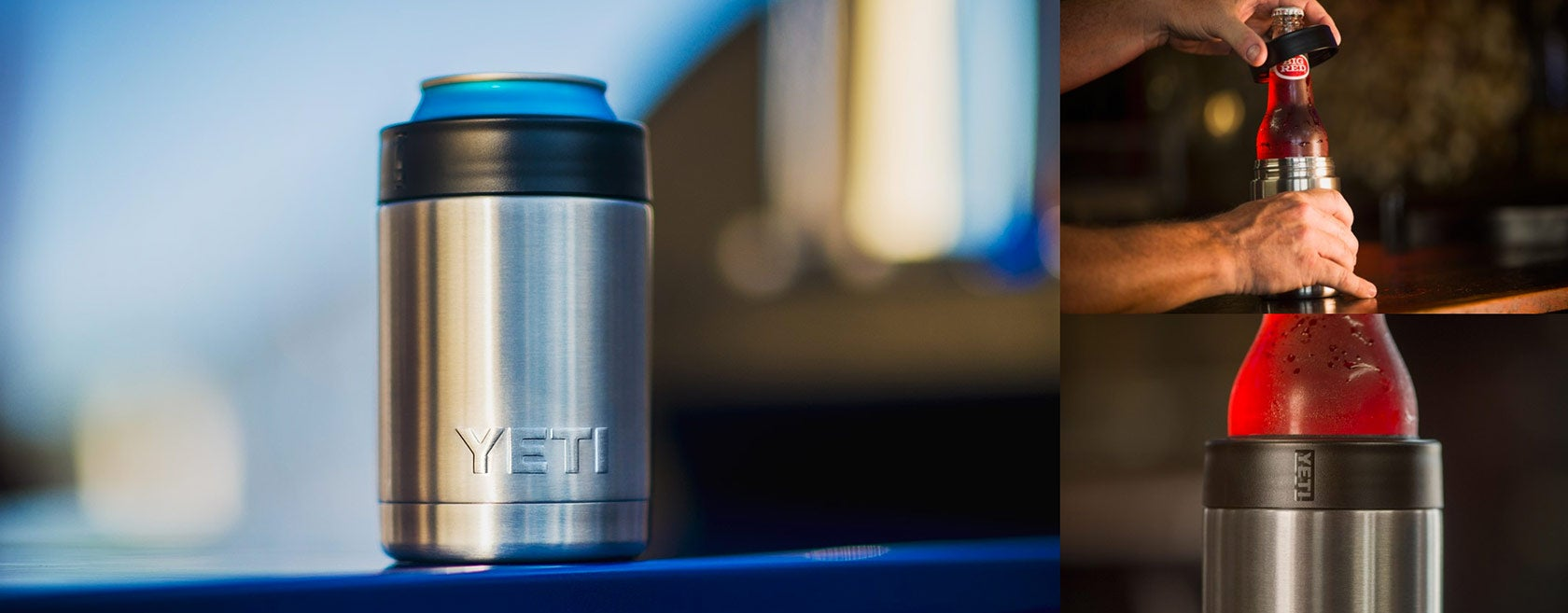 yeti rambler colster around both a beer can and bottle