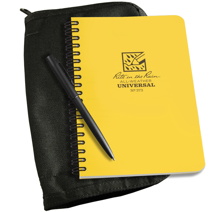 rite in the rain yellow camping journal with protective sleeve