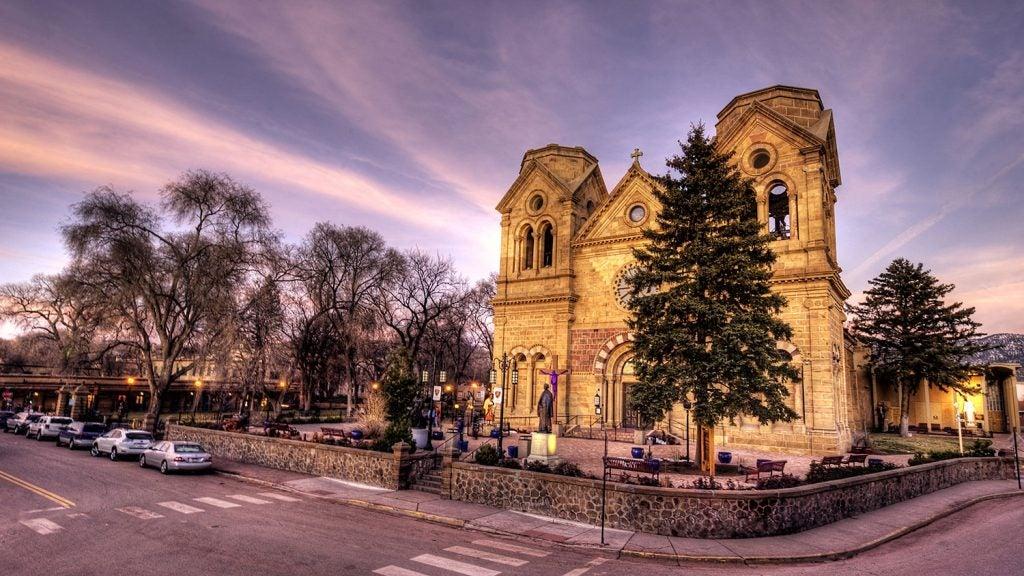 historic building in santa fe at sunset