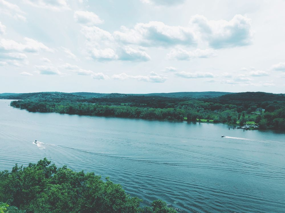 aerial view of the connecticut river in lyme, CT