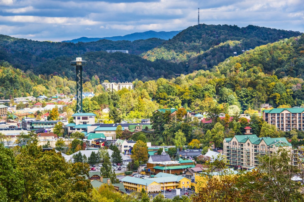 an ariel view of gatlinburg with the space needle in view