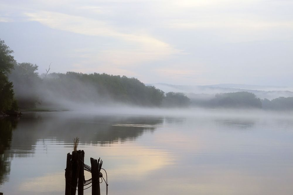 morning fog on the surface of the connecticut river