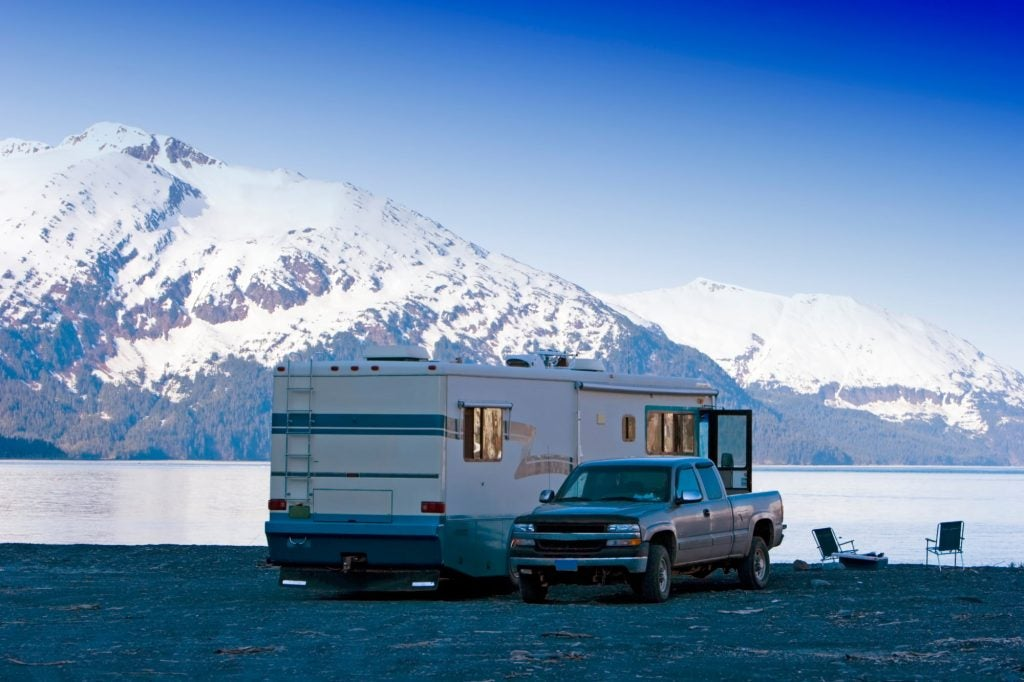 winterize rv in the foreground amongst a snowy mountainscape