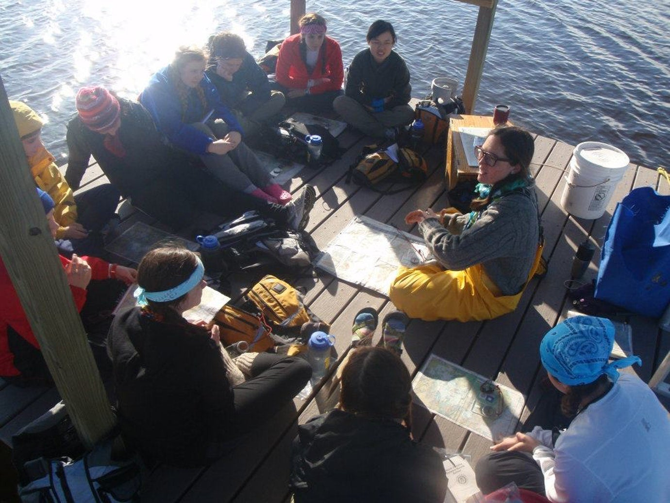 Fellow campers gather on the Everglades chickees, floating platforms on the Florida Bay.