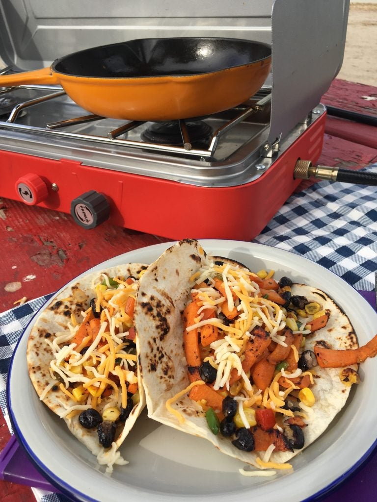 Sweet potato tacos made with Primus stove