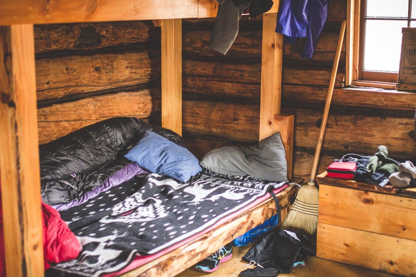 a cozy bunk inside alaska's upper russian lake cabin