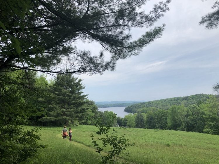 Two hikers make their way through a grassy clearing and to Lake Champlain in Vermont's Bomoseen State Park