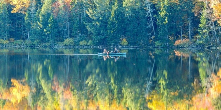 a kayak floats in a mirror pond in a vermont state park