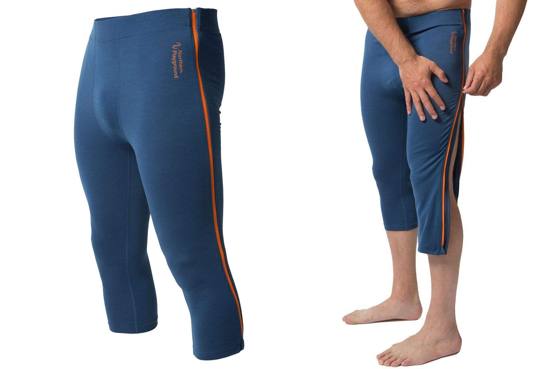 ziplong pants, zipped and unzipped