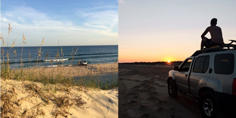 a split image of a beach in the day and a man on a car at dusk while camping at Outer Banks