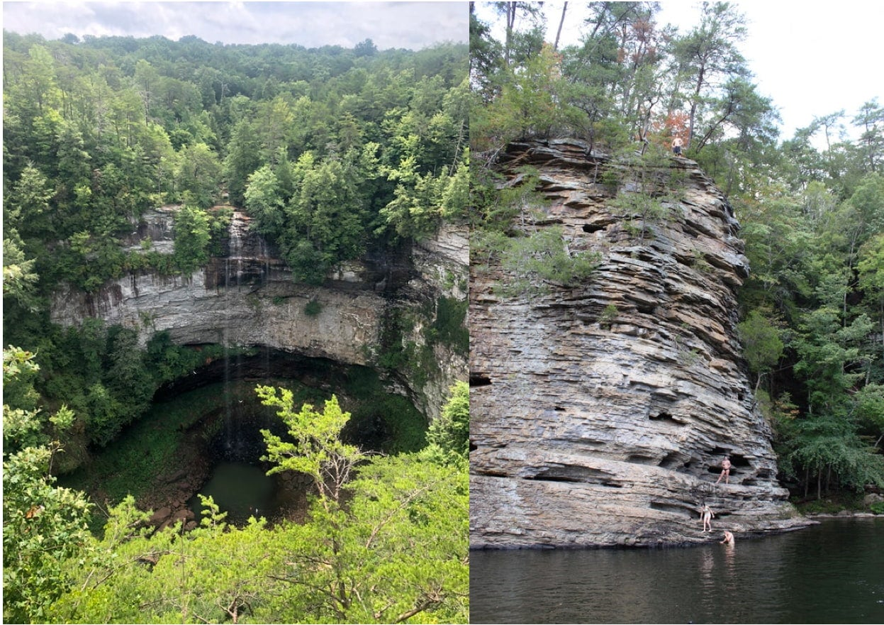 a split image of a circular canyon with waterfall and people climbing a rock wall near a swimming hole