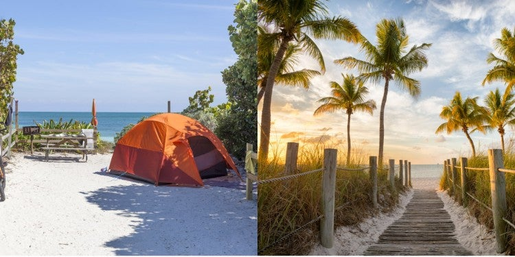 a split image of a beachfront key west camping site with a tent and a boardwalk to the water