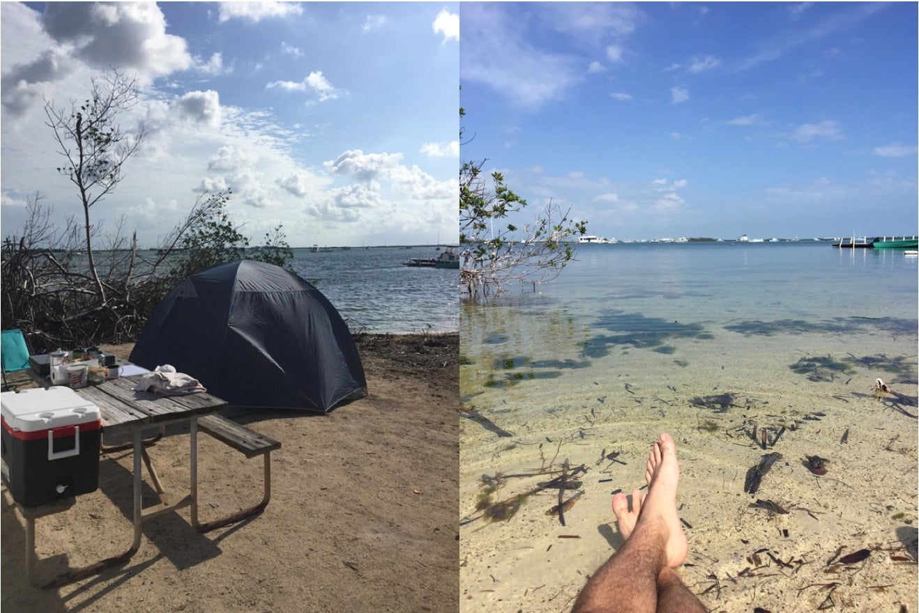 a split image of a key west camping site and a man relaxing in the water