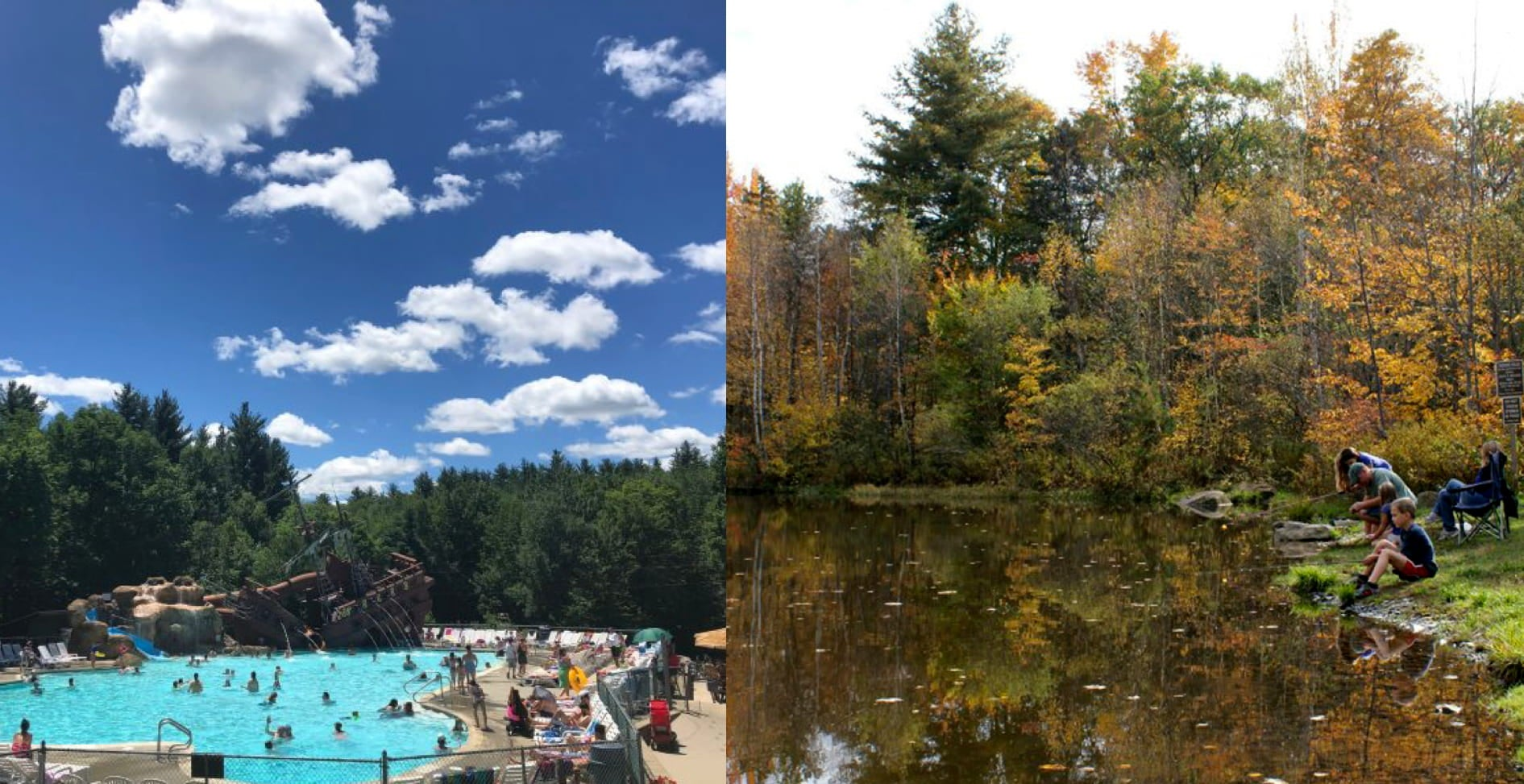 a split image of a pool and a family fishing