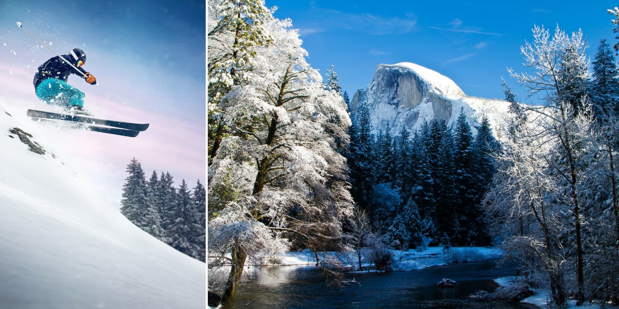 split image of a skiier flying through the air at dusk beside an image of half dome covered in snow