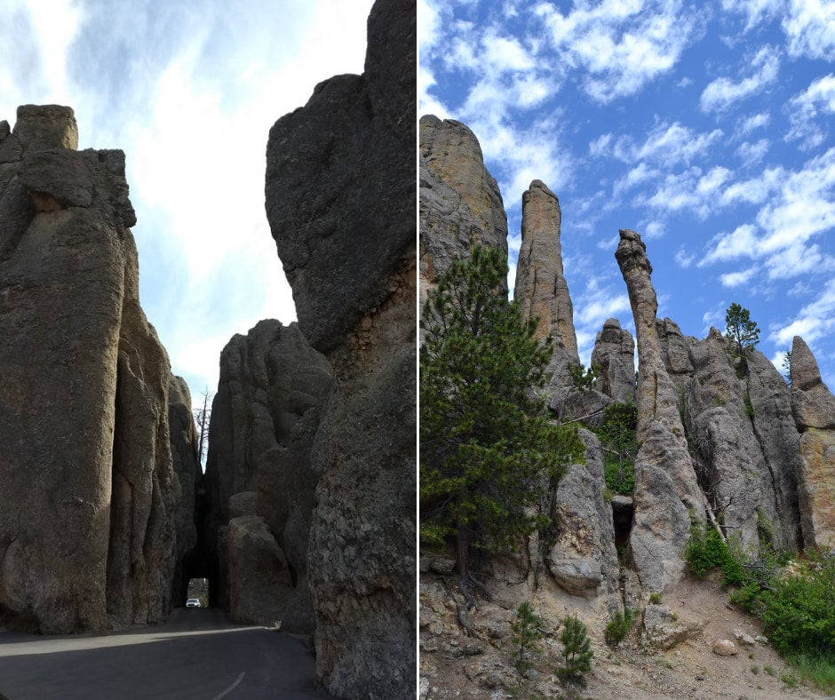 Views along the Needles Scenic Byway on left car driving through rock tunnel on the right needlelike rock formations towering above