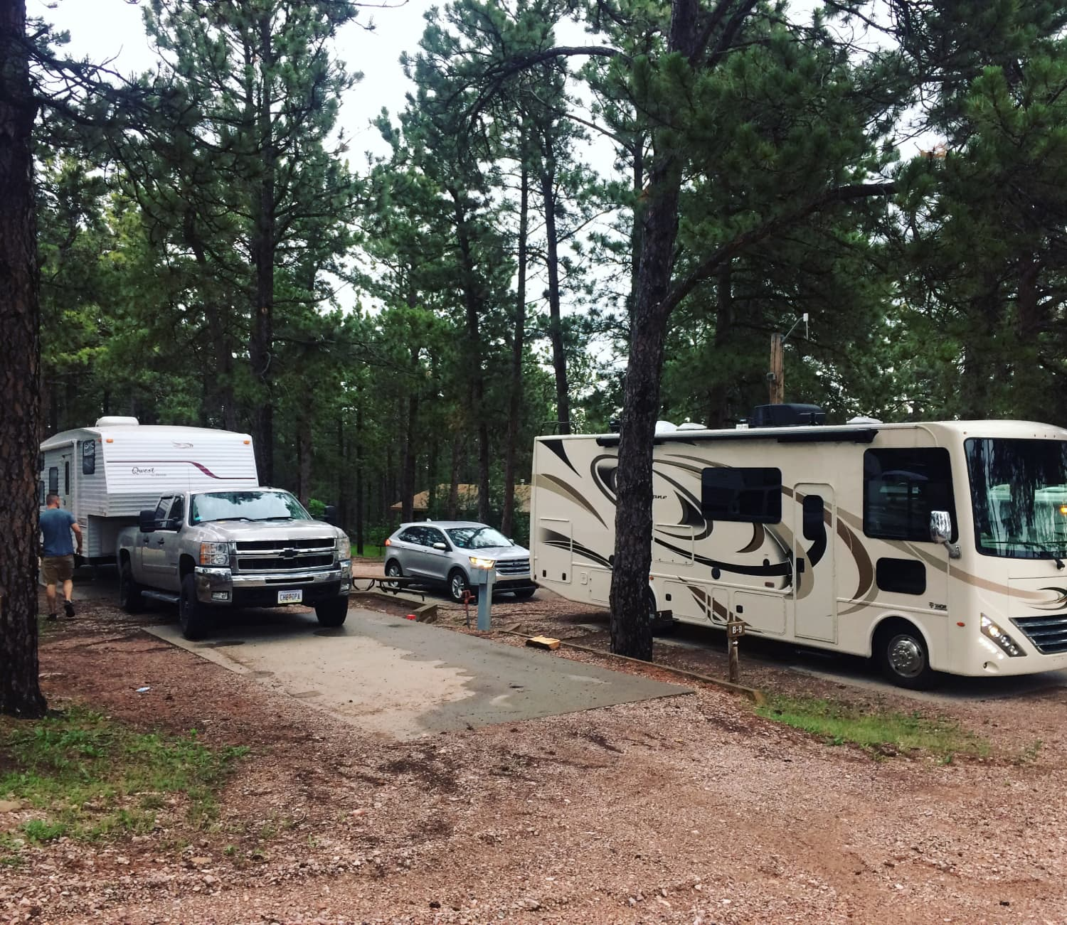 truck with camper trailer suv and large rv at american buffalo resort campground