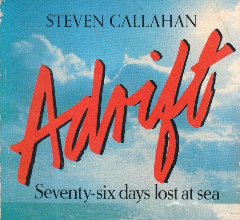 80s style book cover for adrift, featuring beachy scene with red title