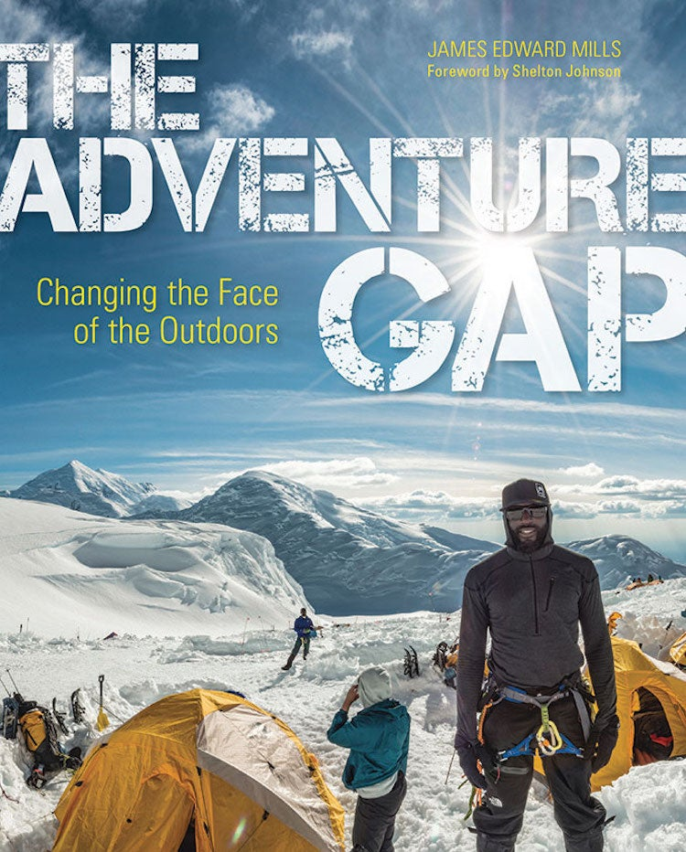 the adventure gap book cover featuring climbers at a snowy base camp