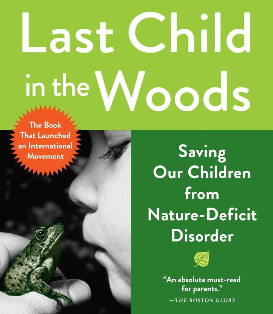 cover of last child in the woods book featuring image of child kissing frog
