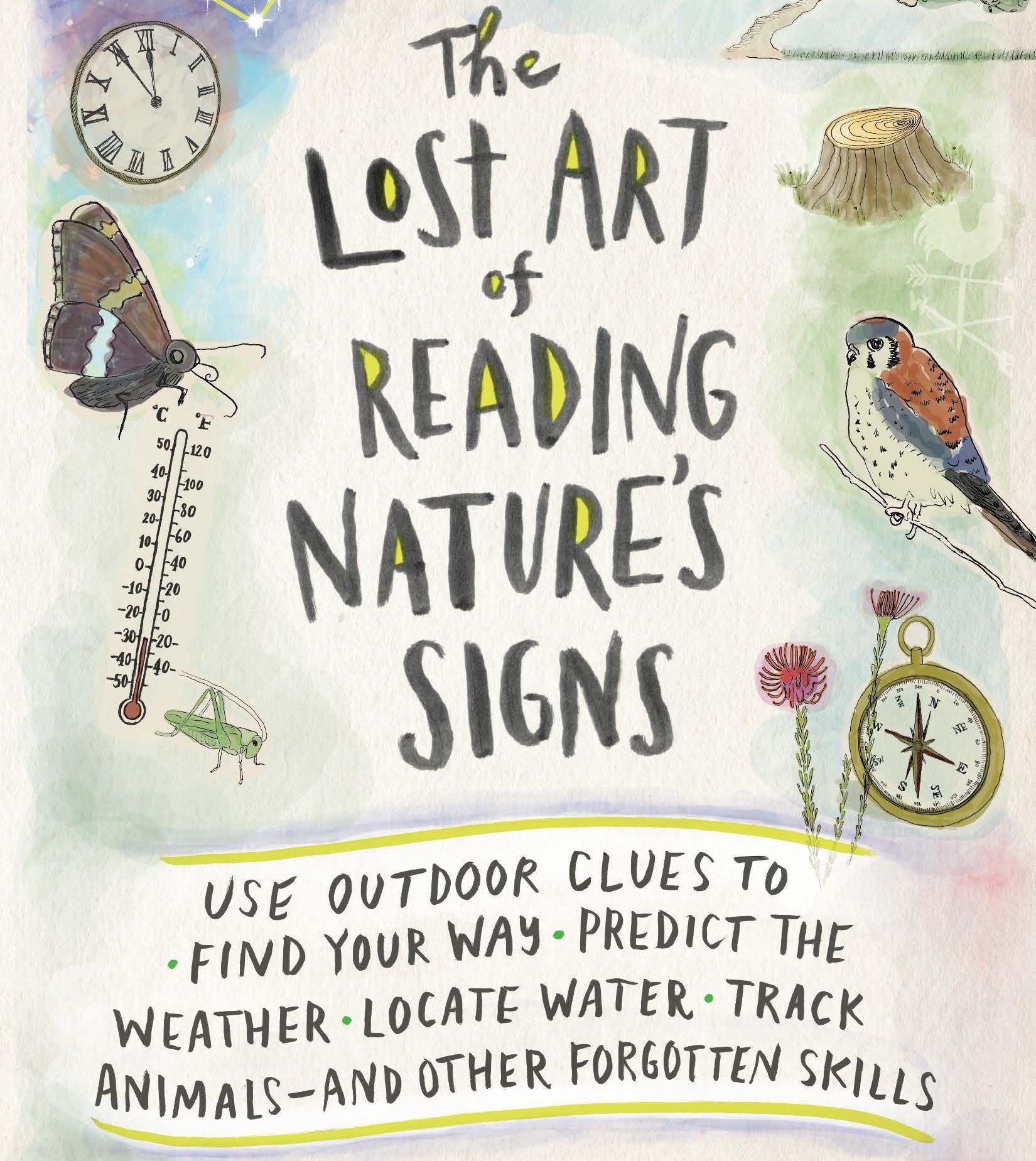 lost art of reading natures signs book cover featuring watercolor drawings