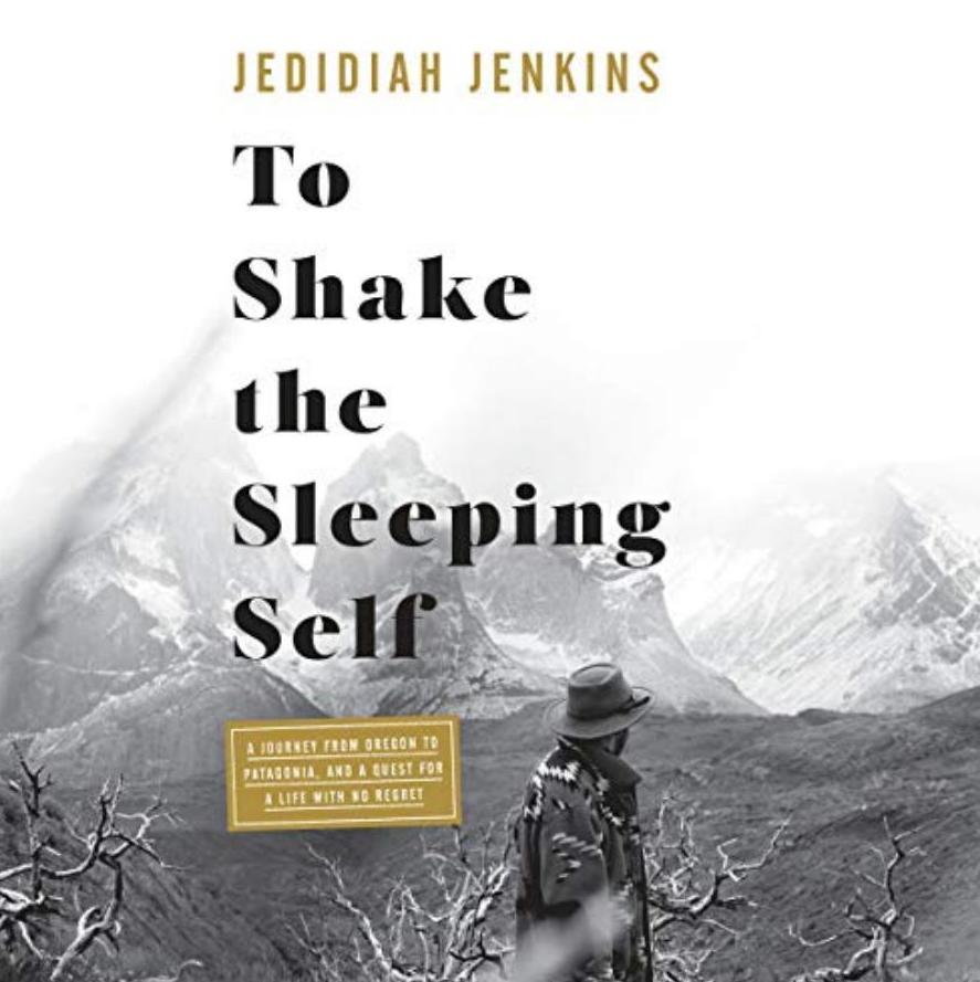 black and white image of hiker facing mountains, to shake the sleeping self cover
