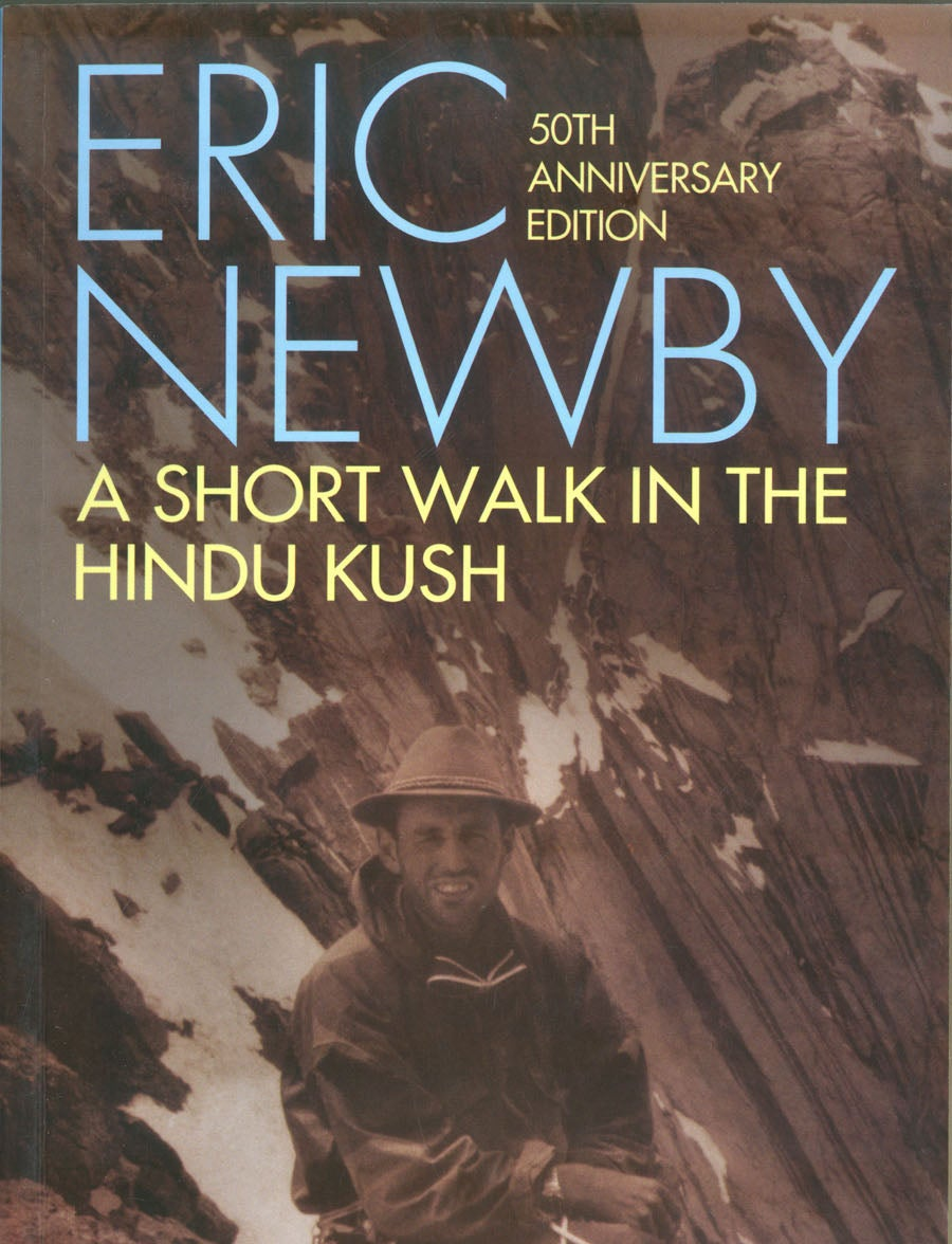 mountain climber in helmet on cover of short walk in the hindu kush book